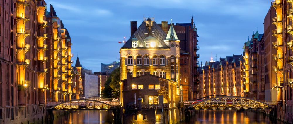 Schanzenviertel in Hamburg bei Nacht