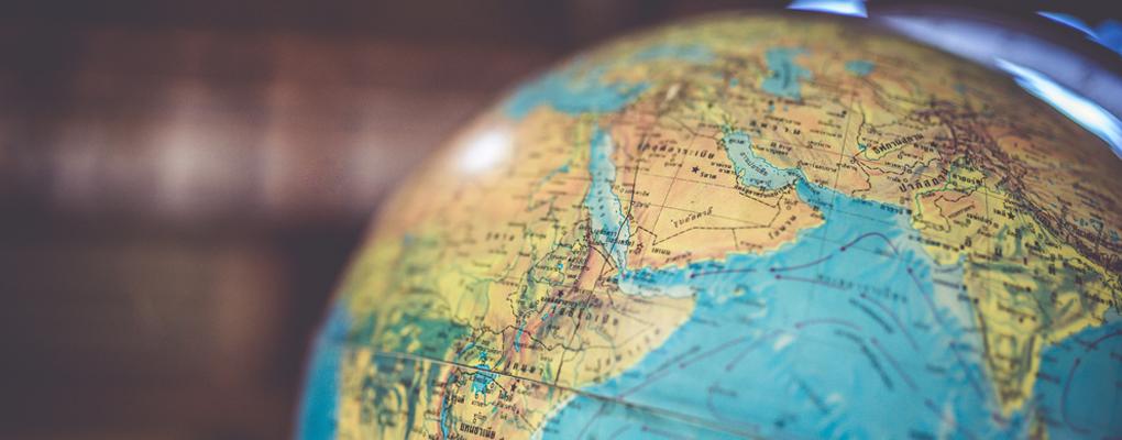 Ein Globus in Nahaufnahme