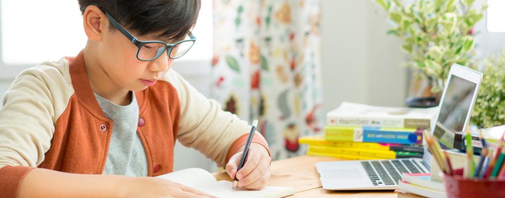 Ein Junge lernt am Schreibtisch mit einem Laptop