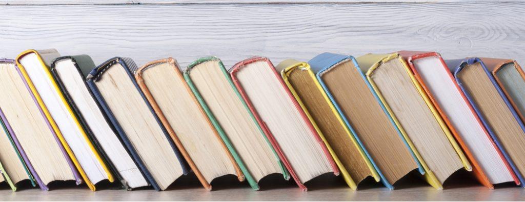 Viele Bücher stehen in einer Reihe nebeneinander
