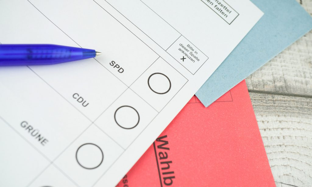 Ein Stimmzettel für die Bundestagswahl