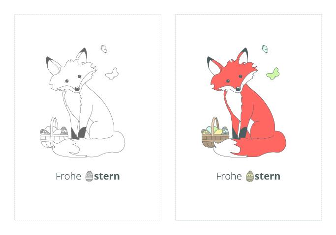 Ausmalbilder Kinder Fuchs: Kostenlose Osterkarten Zum Ausdrucken Und Zum Ausmalen