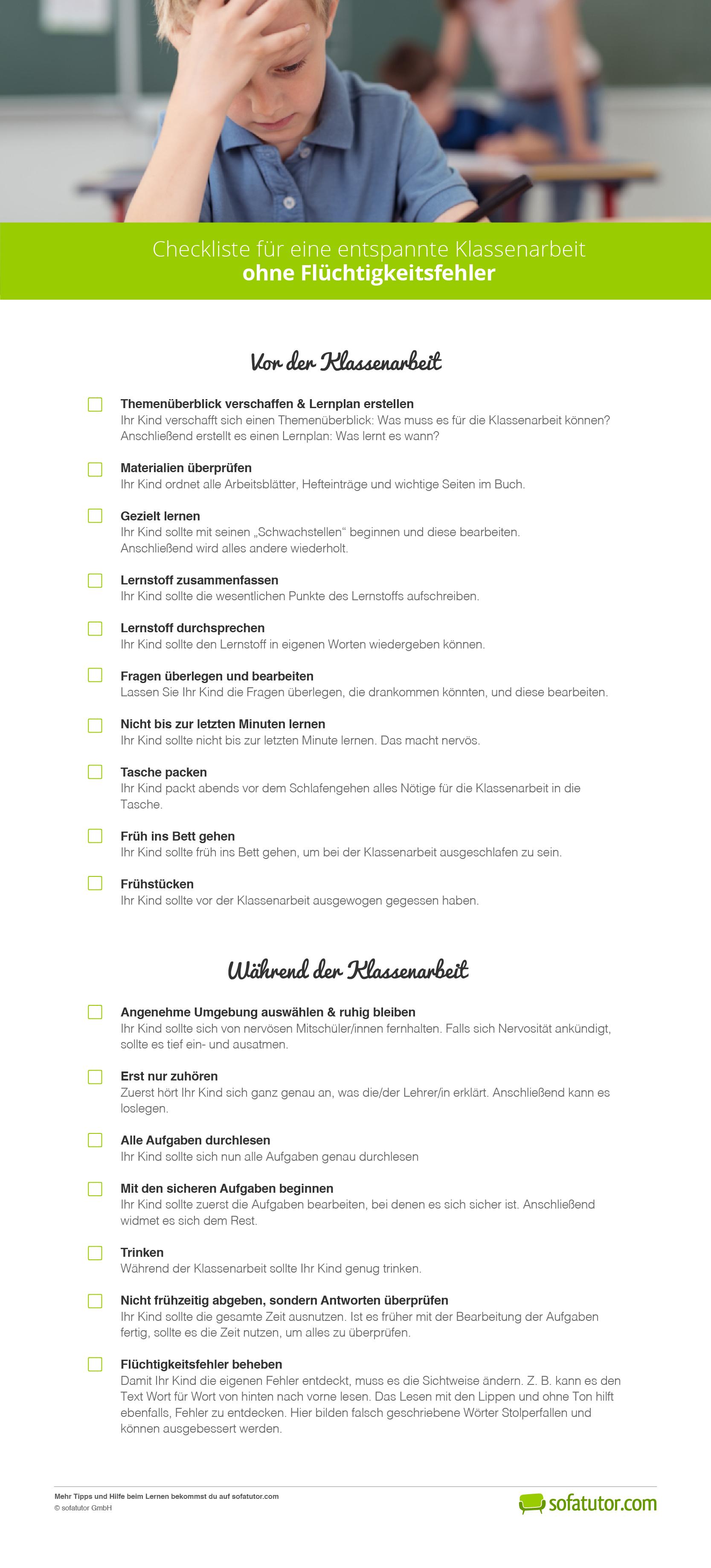 Checkliste für entspannte Klassenarbeiten ohne Flüchtigkeitsfehler