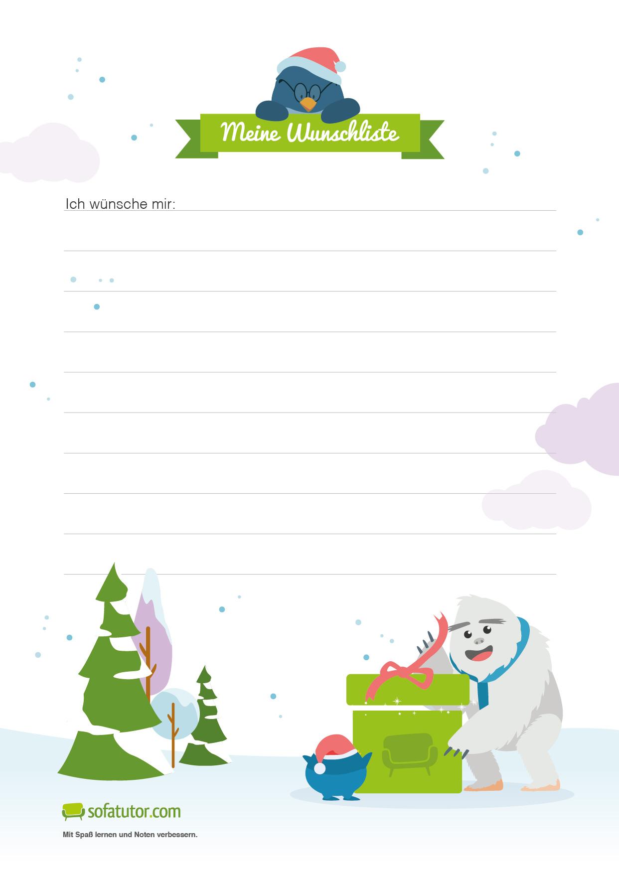 Wunschliste Dem Weihnachtsmann Einen Brief Schreiben
