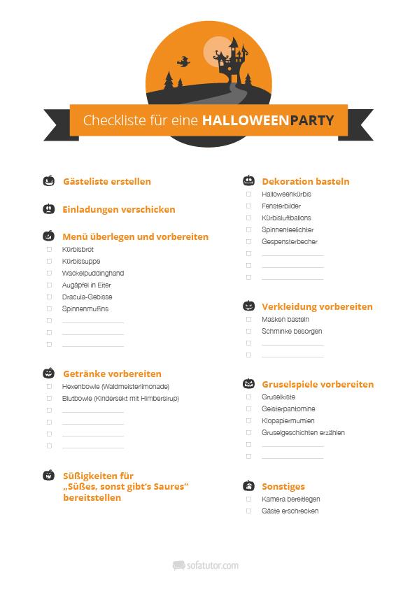 halloween party checkliste und halloween party einladung. Black Bedroom Furniture Sets. Home Design Ideas